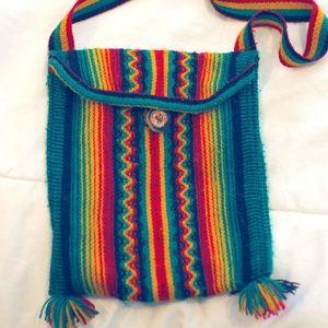Vintage Multicolored Woven Cloth Bag